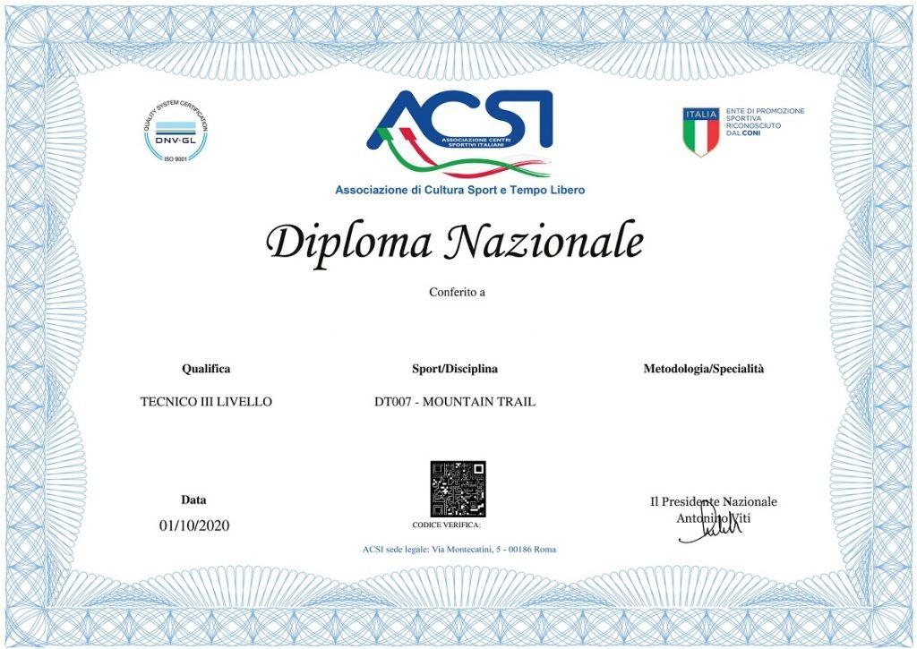 Diploma tecnico di terzo livello mountain trail