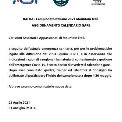 IMTHA – Campionato Italiano 2021 Mountain Trail